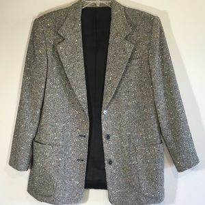 Vintage Oversized Wool Blazer Tweed Colorful Woven